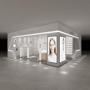 Shop fittings and showcase cabinet for retail display in optical shops