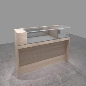 Custom Wooden veneer and Tempered glass showcase cabinet for retail interior design