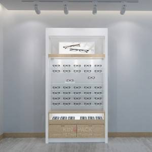 Custom Wooden veneer and S.Steel Eyeglass shop interior displays design