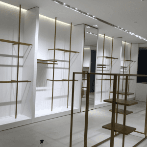 Retail display solutions for clothing store fixtures with stainless steel plating