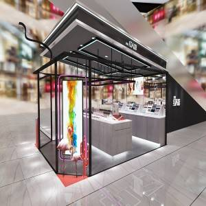 Customized store display fixtures makeup shop kiosk with LED light