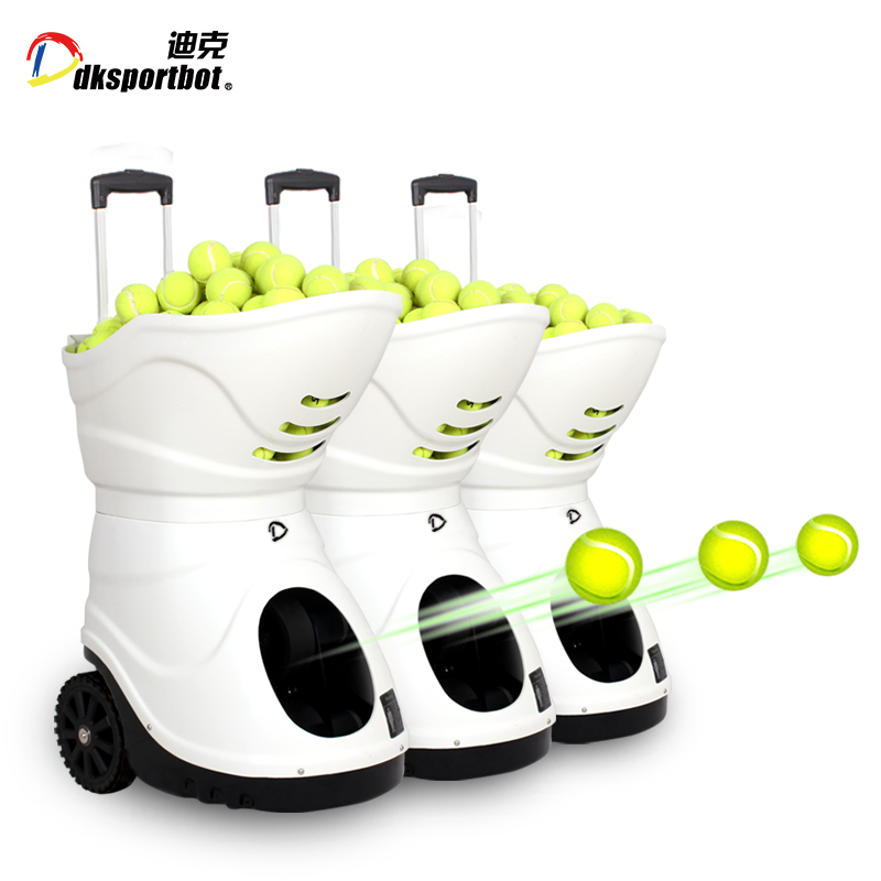 Automatic rebounded tennis ball launcher serveing machine feeding robot for shooting practice Featured Image