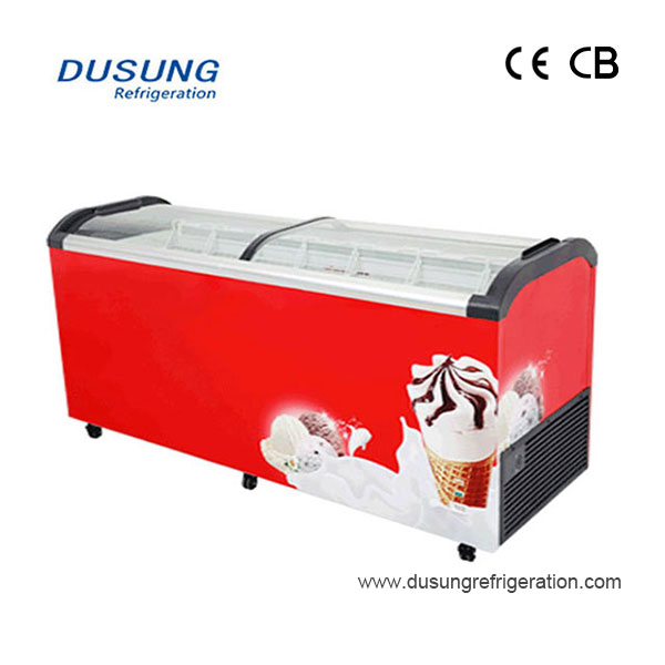 Dual Curved glass Lid Ice Cream Display Freezer Sliding Glass Lid Chest Freezer Featured Image