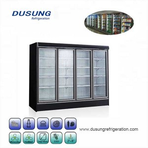 Glass door four door commercial refrigeration display refrigerator