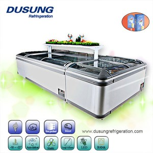 supermarket commercial sliding glass curved lid chest combined island freezer
