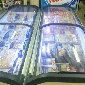 Dual Curved glass Lid Ice Cream Display Freezer Sliding Glass Lid Chest Freezer