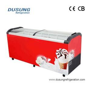 Dual Kipochi cha kioo Lid Ice Cream Display Freezer Sliding Glass Lid kifua freezer