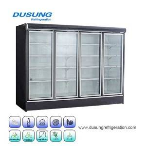 03-Glass door four door commercial refrigeration display refrigerator