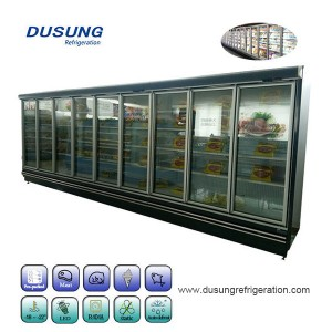 Glass door freezer for frozen food supermarkets