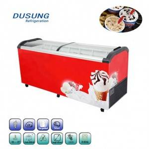 Sliding glass door commercial display ice cream deep freezer