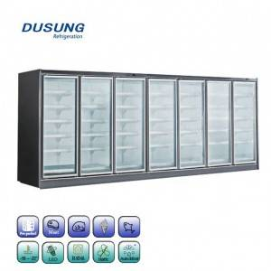 Supermarket upright glass door freezer
