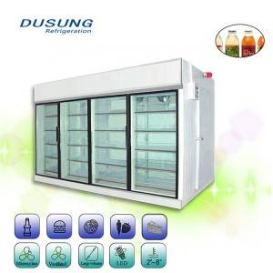 Rear Supply Supermarket Glass Door Walk In Cold Room