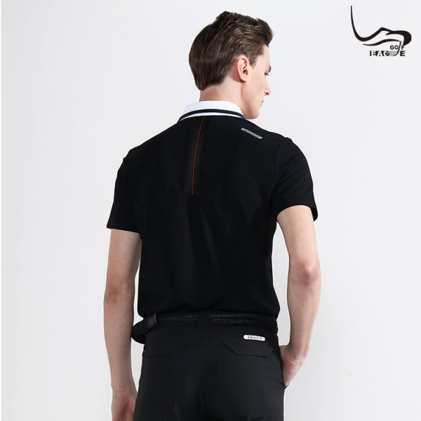 Wholesale not fade 100% polyester men black polo shirts