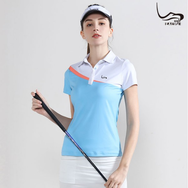 fashion New asli polyester wanita warna kombinasi kaos polo