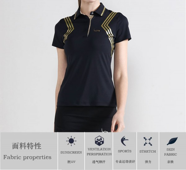 Wholesale custom new design quick dry dri fit golf shirt for women