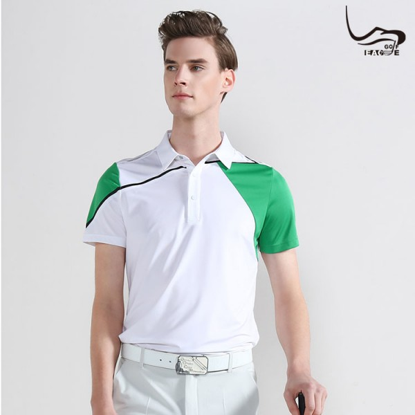 Short sleeve green tipping collar & cuff Polo shirts Golf Shirts For Men