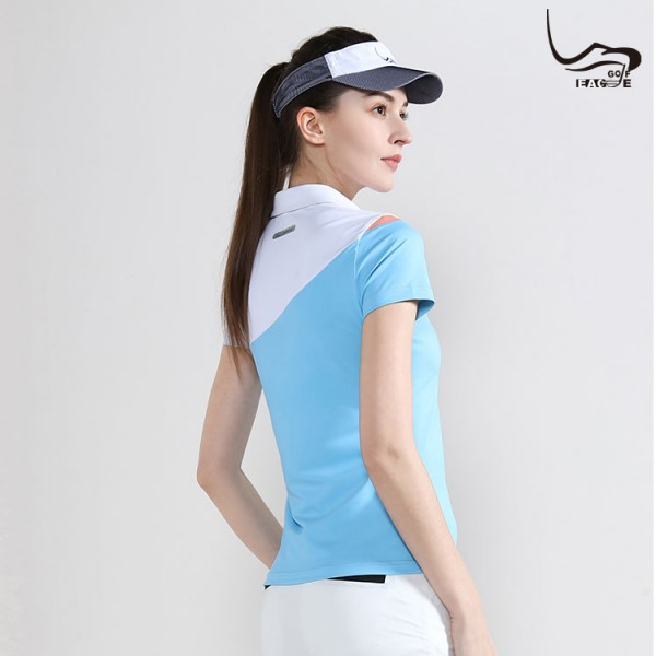 New fashion original polyester women color combination polo shirt