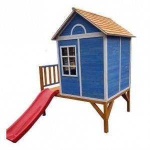 Indoor playground wooden children house play set with slide new cubby play  house equipment EYPH1701
