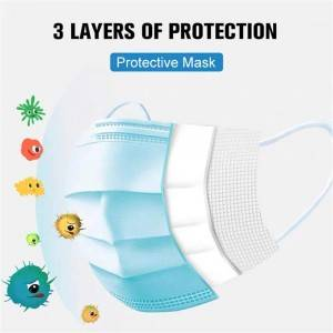 Disposable 3 Ply Breathable Comfortable Face Masks with Elastic Ear Loop for Blocking Dust Air Pollution
