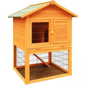 Design Farming with Asphalt Roof Rabbit Cage with Playpen Outdoor Rabbit House Weatherproof Solid Wood  EYR006