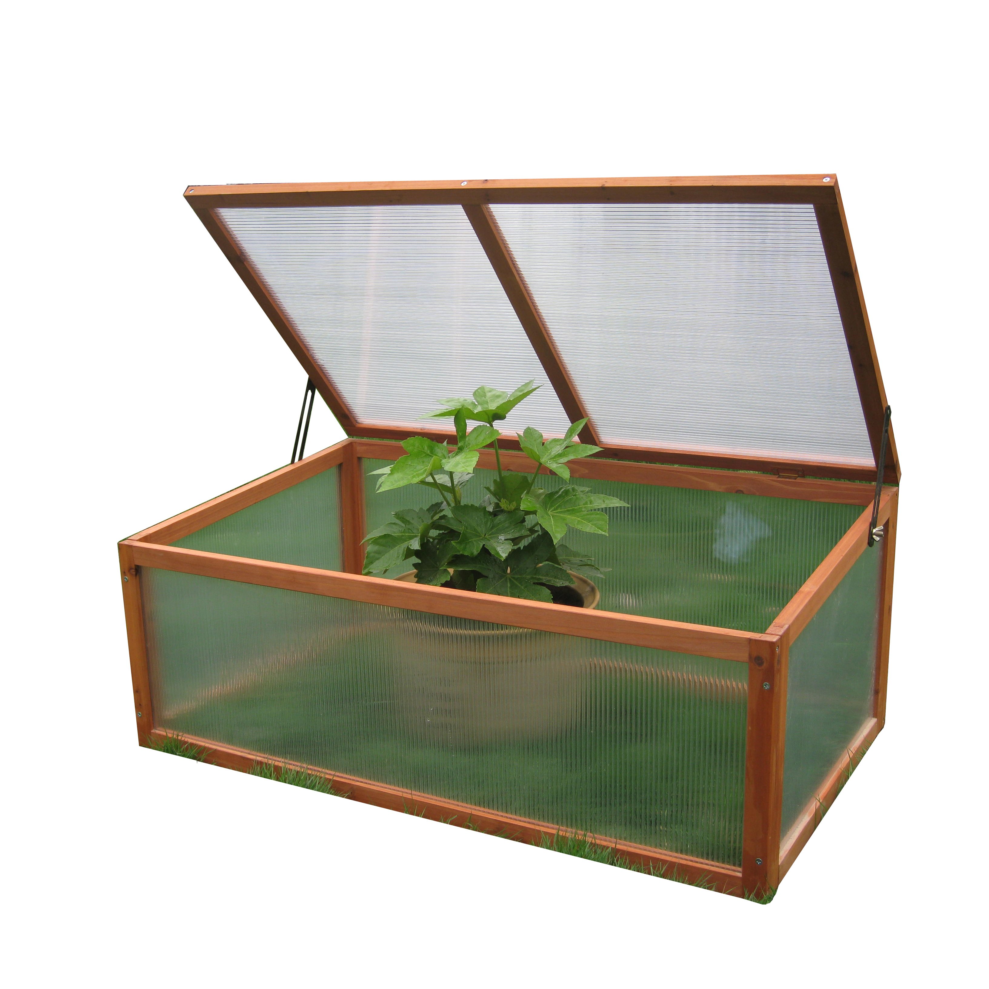 Wood Cold Frame Garden Greenhouse Raised Bed Protective Planter for Vegetable and Flowers, Indoor and Outdoor Vented Plant Cover Featured Image