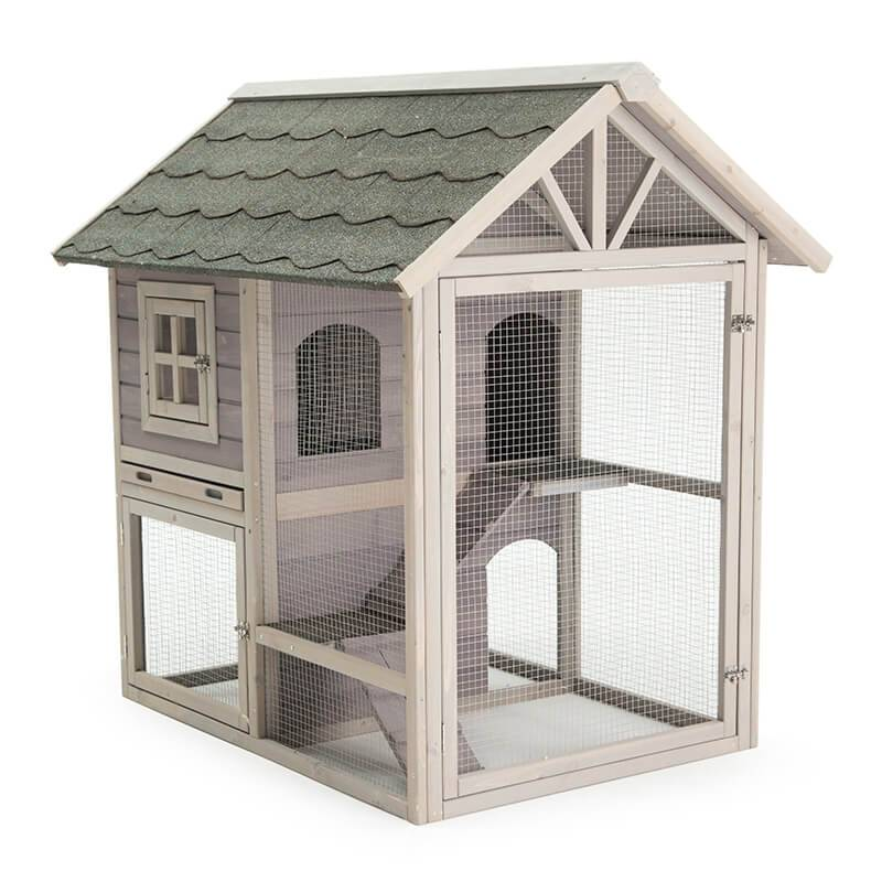 Hot Sale Asphalt Roof Custom Wooden Rabbit Hutch EYR028 Featured Image