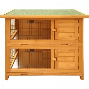 Commercial Farming 2 Level Ware with Outdoor Enclosure Wooden Cage and Wire with Large Free Run Rabbit Cage EYR005