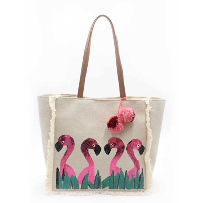 2019 wholesale price Embroidered Handbag - Eccochic Design Sequins Flamingo Tassel Beach Bag – Eccochic