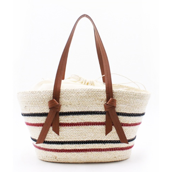 Factory wholesale Straw Basket Bag With Pom Poms - Eccochic Design Summer Striped Straw Shoulder Bag – Eccochic