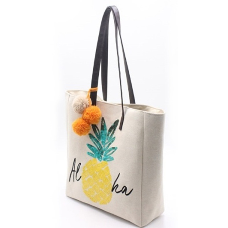 Europe style for Canvas Tote - Eccochic Design Sequins Pineapple Aloha Shoulder Bag – Eccochic