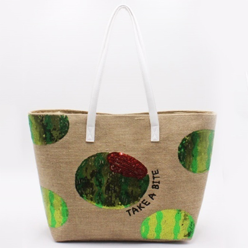 OEM manufacturer Bags To Embroider - Eccochic Design Sequins Watermelon Jute Beach Tote Bag – Eccochic