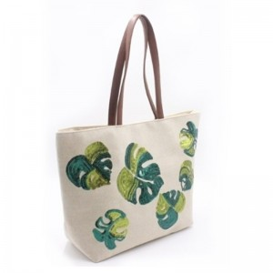 Eccochic Design Sequins Green Leaves Tote Bag