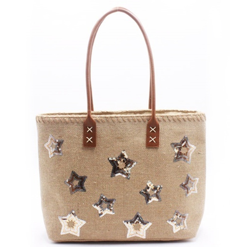factory low price Crochet Tote Bag - Eccochic Design Sequins Stars Jute Tote Bag – Eccochic
