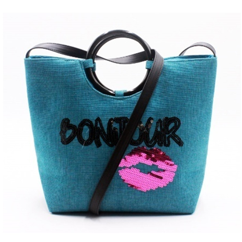 Manufacturer of Floral Embroidered Handbag - Eccochic Design Sequins Sexy Mouth Bonjour Crossbody Bag – Eccochic
