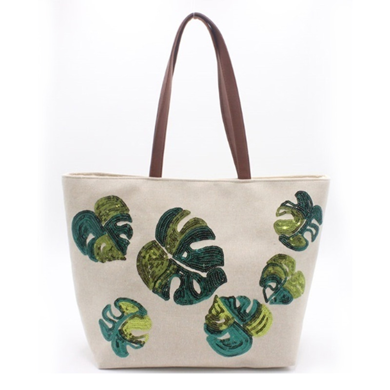 High definition Embroidered Dance Bag - Eccochic Design Sequins Green Leaves Tote Bag – Eccochic