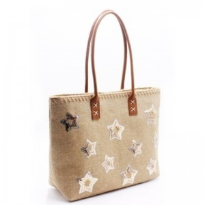 Eccochic Design Sequins Stars Jute Tote Bag