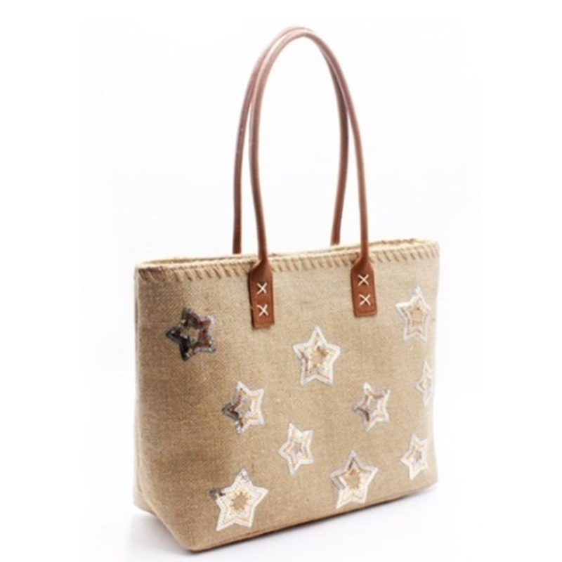 Factory best selling Tote Organizer - Eccochic Design Sequins Stars Jute Tote Bag – Eccochic detail pictures
