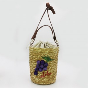 Eccochic Design Summer Fashion 3d Grapes Embroidery Bucket Bag