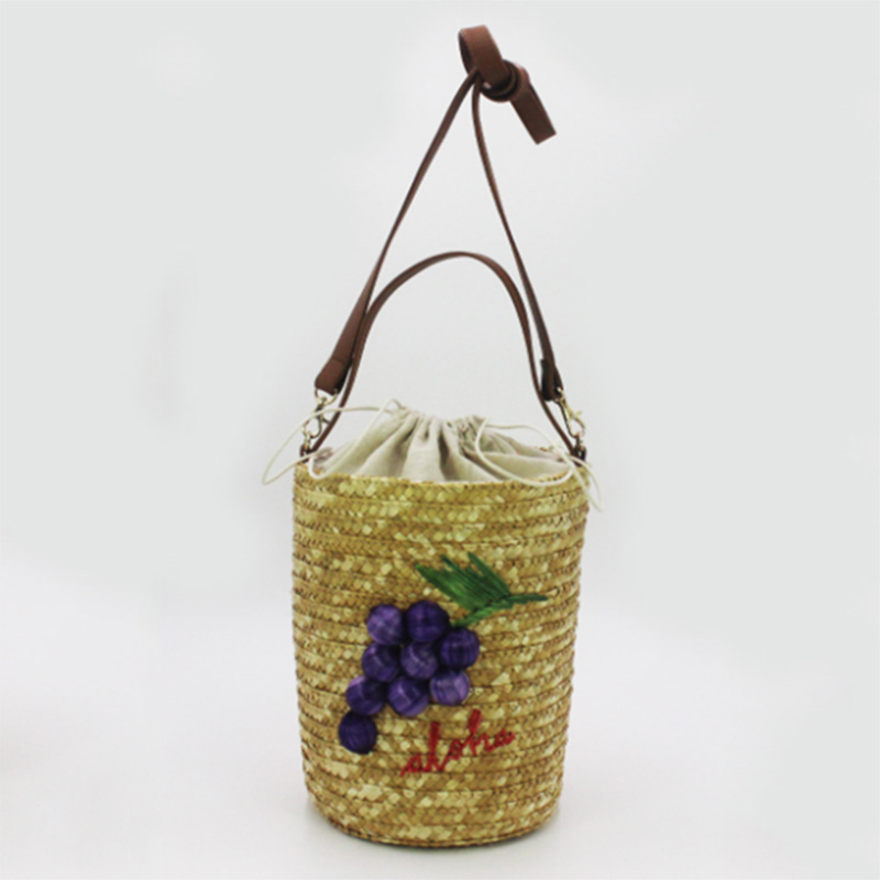 Hot Sale for Straw Tote Bag - Eccochic Design Summer Fashion 3d Grapes Embroidery Bucket Bag – Eccochic detail pictures