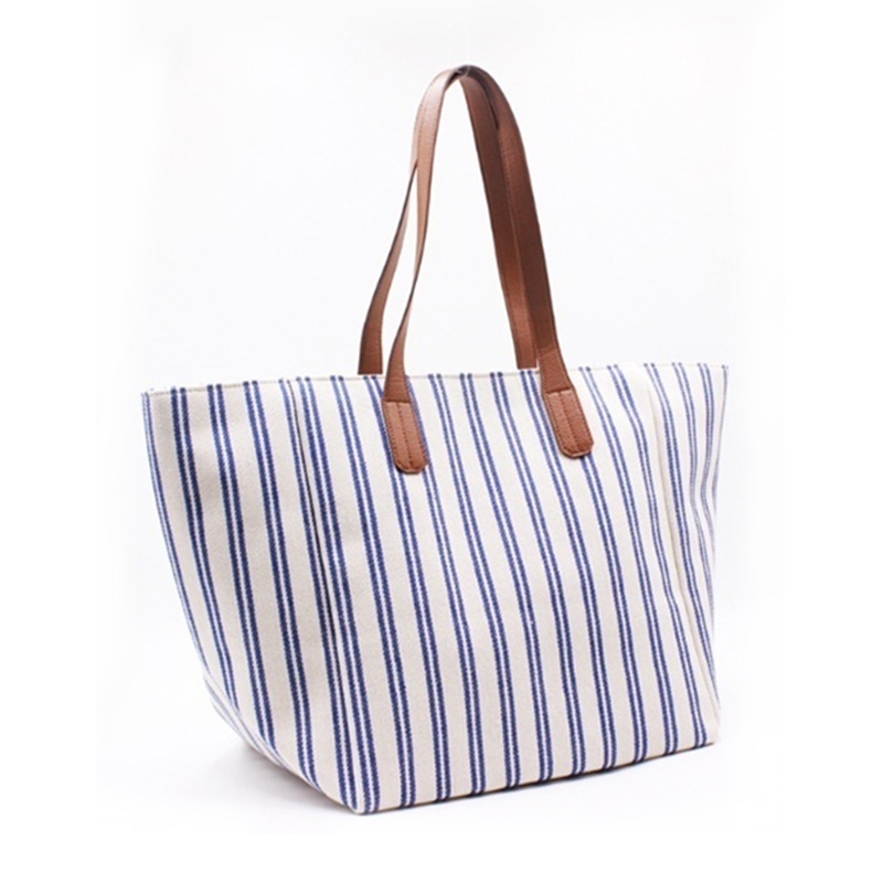 Factory Promotional Black Canvas Tote Bag - Eccochic Design Large Size Stripes Canvas Bag – Eccochic