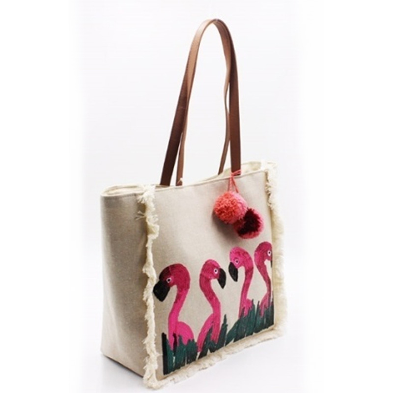 Newly Arrival Cotton Tote Bag - Eccochic Design Sequins Flamingo Tassel Beach Bag – Eccochic