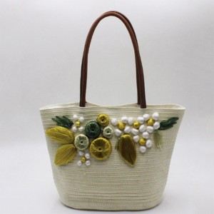 Eccochic Design Summer Fashion 3d Floral Embroidery Pattern Straw Beach Bag