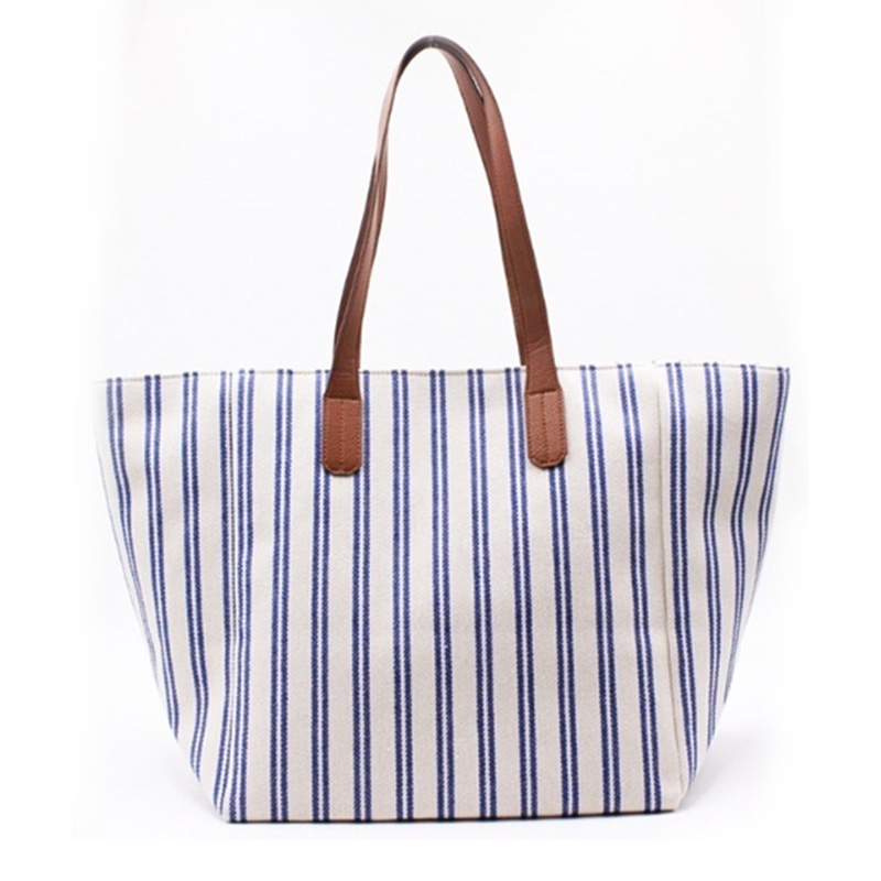 Quality Inspection for Large Leather Tote - Eccochic Design Large Size Stripes Canvas Bag – Eccochic