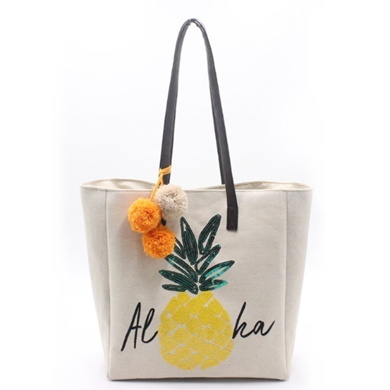 Chinese Professional Foldable Tote Bag - Eccochic Design Sequins Pineapple Aloha Shoulder Bag – Eccochic