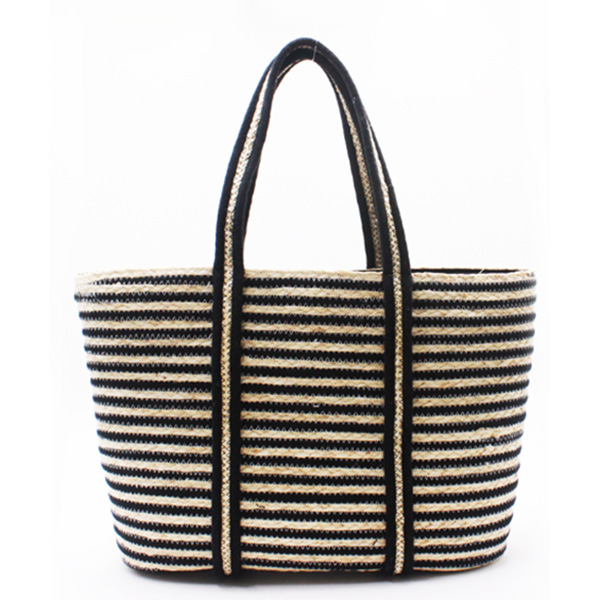Wholesale Price Straw Basket Bag With Leather Handles - Eccochic Design Striped Straw Basket Bag – Eccochic