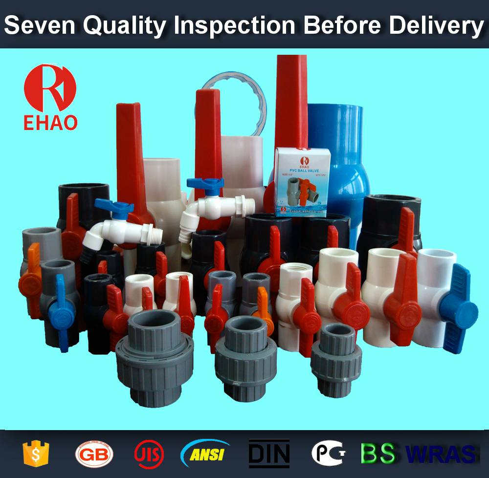 "Wholesale price for 2""(63mm)   round compact PVC ball valve solvent socket , Plastic ball valve Factory for Florence"