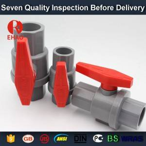 "3/4"" (25mm)  plastic PVC pvc 2-piece ball valve ABS hadle socket slip x slip solvent, thread x thread assembly"