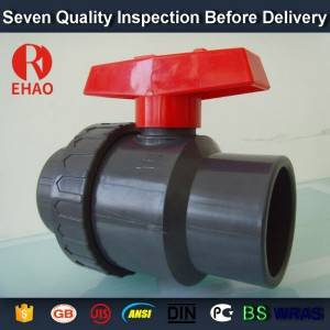 "4"" socket /thread + sokect  PVC single union ball valve, solvent end"