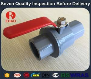 "1/2"" plastic pvc 2-piece ball valve  with stainless steel handle socket slip x slip"