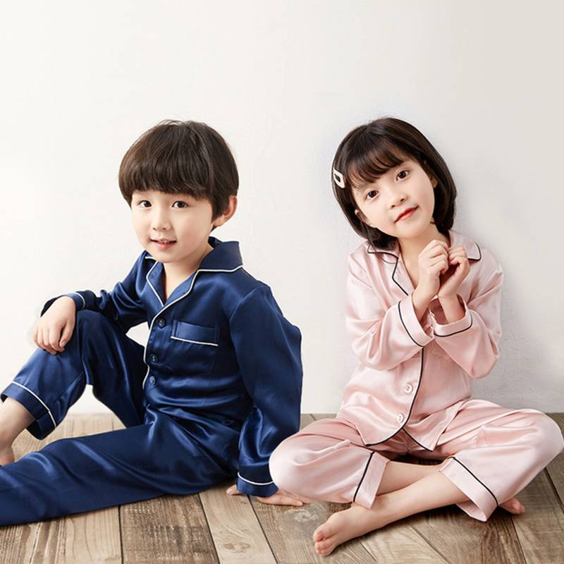 Children's Spring And Autumn Long Silk Pajamas Suit EIT-065 Featured Image